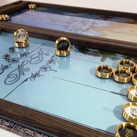 """Нарды """"Одесса-МК"""" стеклянные с эксклюзивным дизайном под заказ. Подарок другу на день рождения, юбилей."""