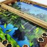 """Нарды """"Пруд"""" с плавающими кувшинками, бабочками и жуками внутри нард."""