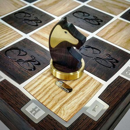 Шахматы с Инициалами именинника мужчины купить в Москве как подарок другу на юбилей 50 лет.
